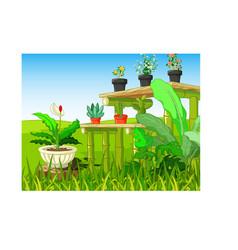 Cool park grass hill with flowers cartoon vector