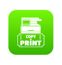 Copy and print icon green vector
