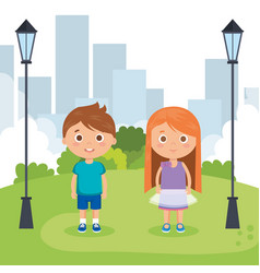 couple little kids in the park characters vector image