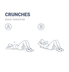Crunch female workout exercise guide vector
