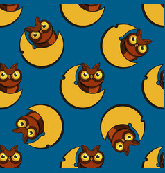 cute cartoon style owls seamless pattern vector image