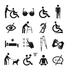 disabled people care and disability icon set vector image
