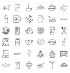 Eatables icons set outline style vector