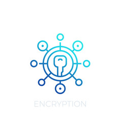 Encryption line icon on white vector