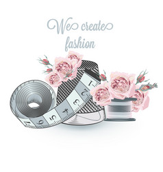 Fashion with sewing accessories and roses vector