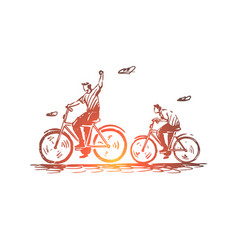 father son bike ride cycling concept vector image