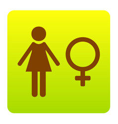 female sign brown icon at vector image