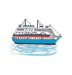 ferry luxurious passenger ship liner watercraft vector image