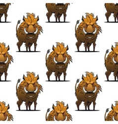 Fierce angry wild boar or warthog seamless pattern vector