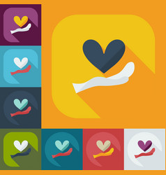 Flat modern design with shadow icons heart in hand vector
