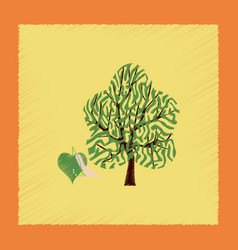 Flat shading style linden wood vector