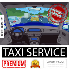 flat taxi service colorful poster vector image