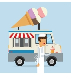 Food truck of ice cream design vector
