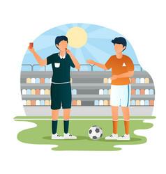 football soccer player teammates referee vector image