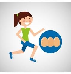 Girl jogger eggs healthy lifestyle vector
