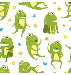 green funny frog seamless pattern cute amphibian vector image