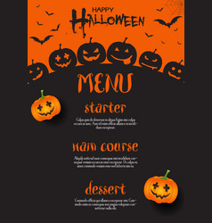 halloween menu design vector image