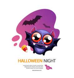Halloween night greeting card with bat vector