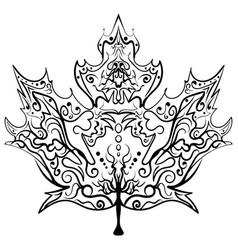 hand drawn maple leaf ornament zen vector image