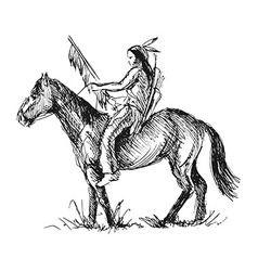 Hand sketch of an American Indian vector