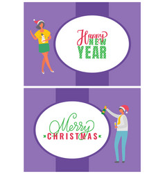 happy new year merry christmas postcards people vector image