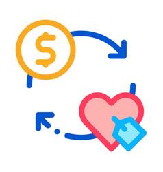heart dollar coin icon outline vector image