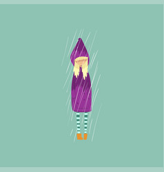 Heavy rain pouring on sad girl in purple raincoat vector