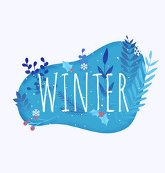 hello winter leafs on background flat design vector image