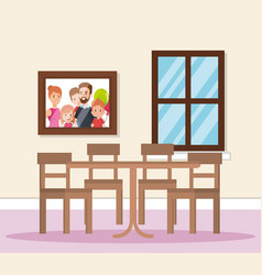 Home dining room scene vector
