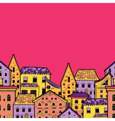 Houses border pink vector