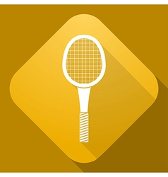 icon of Tennis Racket with a long shadow vector image