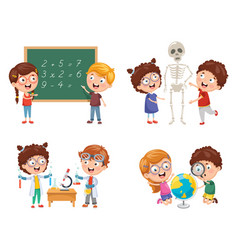 Kids having science lessons vector