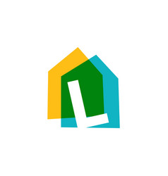 letter l house home overlapping color logo icon vector image