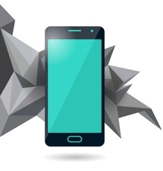 Mobile phone with polygonal background vector image