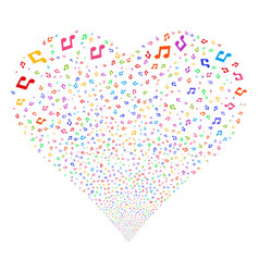 Music notes fireworks heart vector