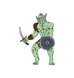 Orc Warrior Sword Shield Cartoon vector image