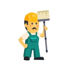 Painter builder worker characters with painting vector