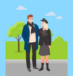People walking in park in spring couple weekends vector