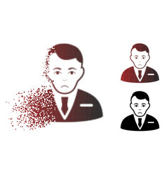Pitiful dispersed pixel halftone businessman icon vector