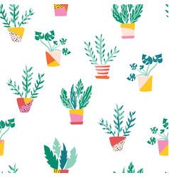 plant pots seamless pattern repeating vector image