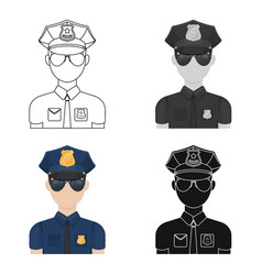 Police officer icon in cartoon style isolated on vector