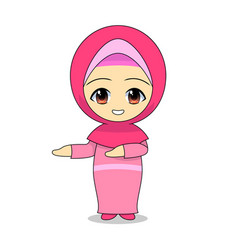 promotional cartoon muslim girls daily fun vector image