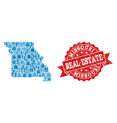 Real estate composition of mosaic map of missouri vector