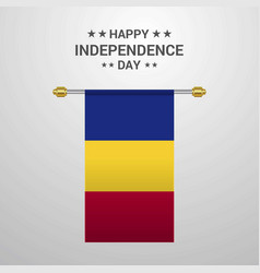 romania independence day hanging flag background vector image