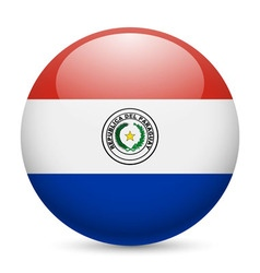 Round glossy icon of paraguay vector image