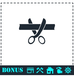 Scissors cutting ribbon icon flat vector image