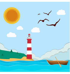 sea lighthouse boat sun blue sky background vector image