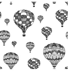 Seamless pattern of doodle hot air balloon vector