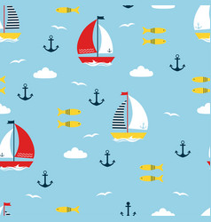 seamless pattern with cartoon boats vector image