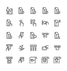 self-service terminals icon set in line style vector image